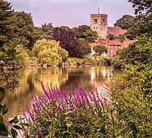 Aylesford church from the south bank by Sue Purveur