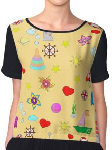 Pattern with toys and hearts Chiffon Top