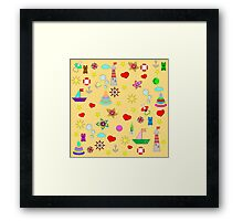Pattern with toys and hearts Framed Print
