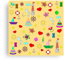 Pattern with toys and hearts Canvas Print