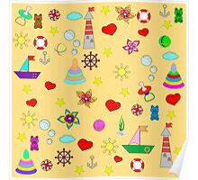 Pattern with toys and hearts Poster