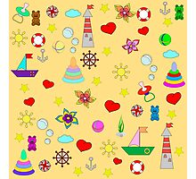 Pattern with toys and hearts Photographic Print