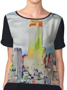 Empire State Building New York City Abstract Chiffon Top