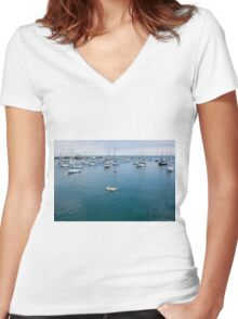 Monterey Bay Row Boat Women's Fitted V-Neck T-Shirt