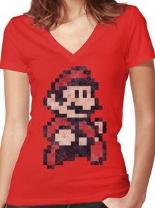 Super Mario Bros 3 Vintage Pixels Women's Fitted V-Neck T-Shirt