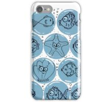 Cute Sea Animals and Funny Fish Floating in Bubbles iPhone Case/Skin