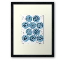 Cute Sea Animals and Funny Fish Floating in Bubbles Framed Print