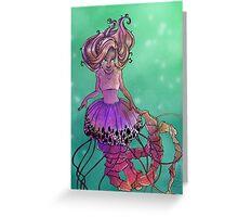Black Sea Nettle Mermaid Greeting Card