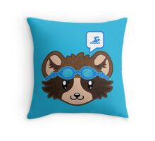 Swimming Racoon Chibi - head only Throw Pillow