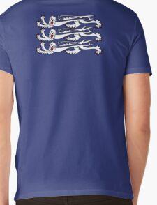 Three Lions, 3 LIONS, Royal Banner of England, UK, Britain, British, Knights, on ROYAL BLUE Mens V-Neck T-Shirt