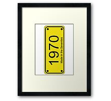 70s License Plate iPhone Cover ~ 1970 ~ Born in the Seventies Case Framed Print