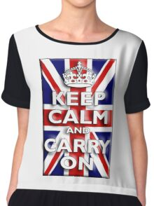 Keep Calm, & Carry On, Union Jack, Flag, Blighty, UK, GB, Be British! Chiffon Top
