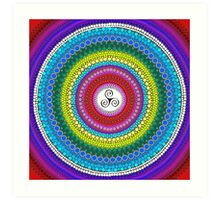 rainbow triangle spiral mandala-dots painting Art Print