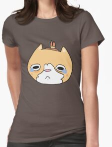 sad cat with a hat Womens Fitted T-Shirt