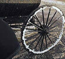 Amish Wagon wheel in Winter by Billlee