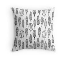 Seamless pattern of hand drawn tribal feathers Throw Pillow