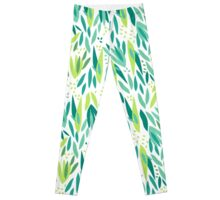 Green Leaves Pattern Leggings
