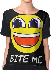 Smile Bite Me - Passive Aggressive Smiley Face Geek Chiffon Top