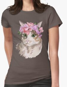 Flower cat Womens Fitted T-Shirt