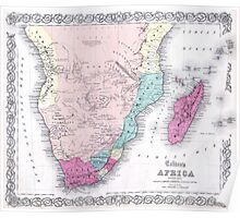 Vintage Map of Southern Africa (1855) Poster