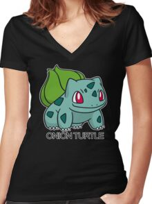 Onion Turtle Women's Fitted V-Neck T-Shirt