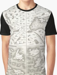 Vintage Map of The Lakes and Islands of The World Graphic T-Shirt
