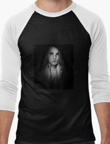 Woman in Shadow - Black and White Men's Baseball ¾ T-Shirt