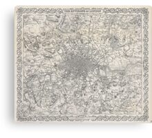 Vintage Map of London England (1855) Canvas Print