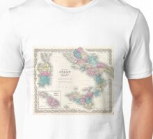 Vintage Map of Southern Italy (1855) Unisex T-Shirt
