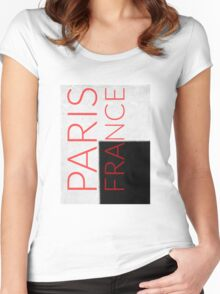 PARIS FRANCE in red Women's Fitted Scoop T-Shirt