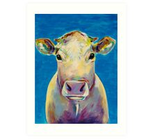 Colorful Cow on Blue Background Painting Art Print