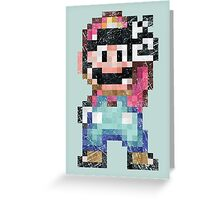 Mario World Vintage Pixels Victory Greeting Card