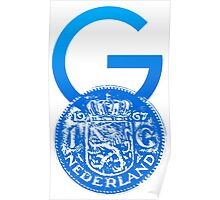 Crypto Gulden symbol with One Guilder coin (blue) Poster