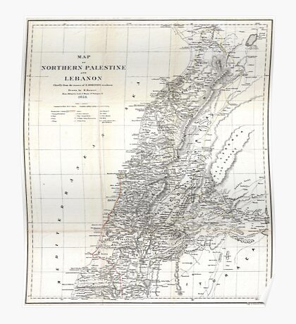 Vintage Map of Lebanon (1856) Poster