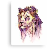 Watercolor and Ink Lion Canvas Print