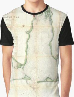 Vintage Map of Mobile Bay Alabama (1856) Graphic T-Shirt