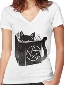Witchcraft cat - Blue Women's Fitted V-Neck T-Shirt