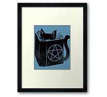 Witchcraft cat - Blue Framed Print
