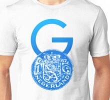 Crypto Gulden symbol with One Guilder coin (blue) Unisex T-Shirt