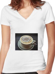 Cup of Cappuccino Women's Fitted V-Neck T-Shirt