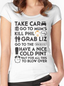 SHAUN OF THE DEAD THE PLAN Women's Fitted Scoop T-Shirt