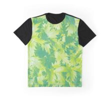 Transparent Leaves Blue Green Graphic T-Shirt