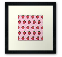 Cute small smiling strawberry pattern Framed Print