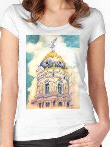 Metropolis building . Madrid. Women's Fitted Scoop T-Shirt