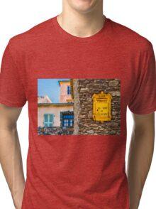 Saint Tropez vintage Post Box and house facades Tri-blend T-Shirt