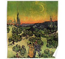 'Landscape with Couple Walking and Crescent Moon' by Vincent Van Gogh (Reproduction) Poster