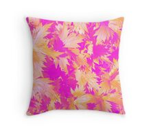 Transparent Leaves Gold on Pink Throw Pillow