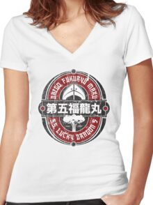 Lucky Dragon No. 5 Women's Fitted V-Neck T-Shirt