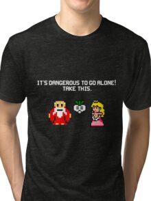 It's dangerous to go alone stitch face Tri-blend T-Shirt