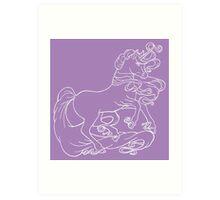 White line Unicorn Art Print